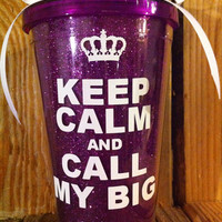 Personalized Sorority gifts,  Purple GLITTER tumbler, keep calm and call my big 16oz tumbler with straw and bow can be personalized.