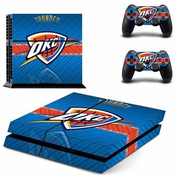 Fashion Nba Oklahoma City Thunder Ps4 Skin Sticker Decal Vinyl For Sony Ps4 Playstation 4 Console + 2 Controllers Stickers
