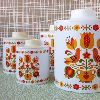 Set of four tea coffee sugar and flour containers by kitschcafe