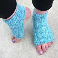 Handknit blue-green socks for yoga, Pilates, dance and exercise