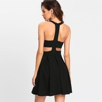 Y-Back Pleated Dress