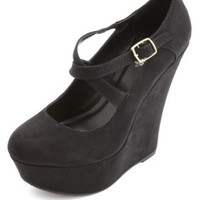 Crisscrossing Mary Jane Platform Wedges by Charlotte Russe - Black