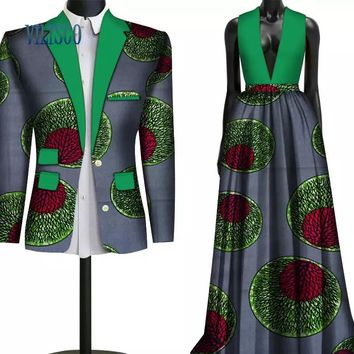 Fashion Sweet Couple Clothing Flowers Men's Suits & African Print Dresses