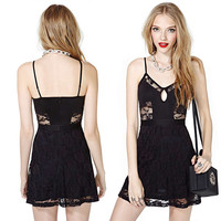 Black Spaghetti Strap Lace Embroidered Mini Skater