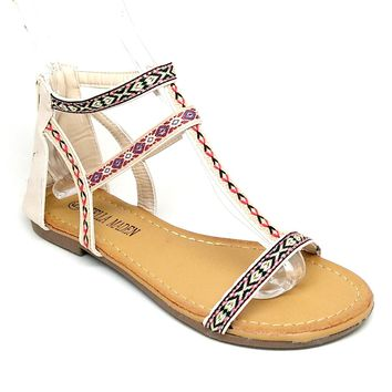 Women's Beige Tribal Embroidered Sandal