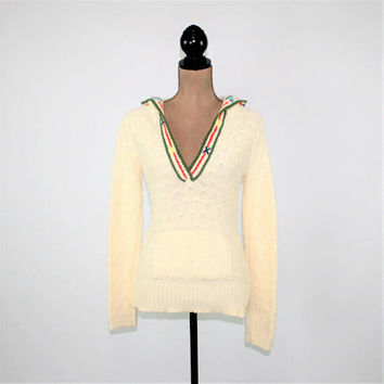 Vintage Old Navy Hoodie Sweater Women Small Angora Pullover Sweater Off White Cream Knit Sweater with Hood Vintage Clothing Womens Clothing