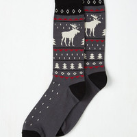 Critters Moose Almighty Men's Socks in Grey Size OS by ModCloth