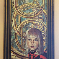 Vintage 1966 by SIEGFRIED REINHARDT TRIPPY young blonde girl portrait psychedelic brass musical music horns Lithograph Print Framed Art