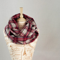 Red Plaid Infinity Scarf, Flannel Circle Scarf, Red Black White Tan Plaid, Fashion Cowl, Womens Scarves, Red Infinity Scarf