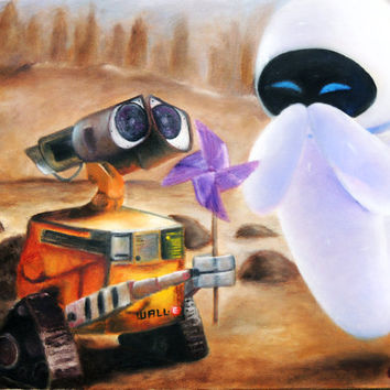 "Print of Original Oil Painting - Disney Pixar's ""Wall-E and Eve"" - Robots in Love - Love Story - Robots with Emotions"