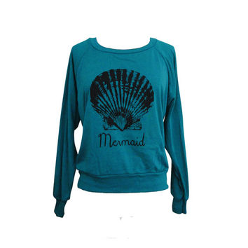 Mermaid Sweater - Seashell American Apparel Raglan Pullover Sweater - (Available in sizes S, M, L)