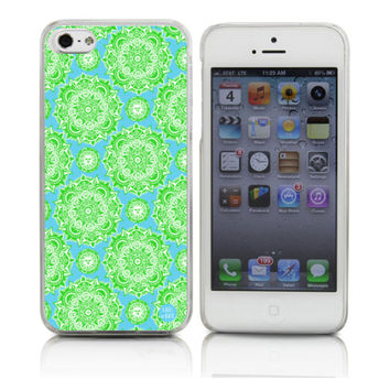 Green Floral/Sun Pattern on Blue