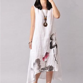 New Summer Ink Sleeveless Long Dress Maternity Dresses Pregnant Clothes For Pregnant Women Cotton Linen Dress For Pregnancy
