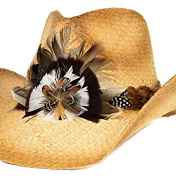 Tea Stain Western Hat / Fancy Feather Band