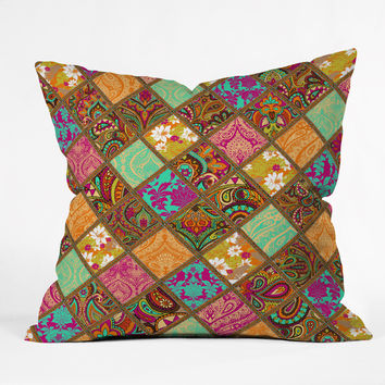 Aimee St Hill Patchwork Paisley Orange Throw Pillow