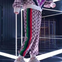 """Gucci"" Women All-match Casual Retro Letter Print Stripe Loose Sweatpants"