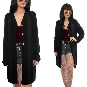 vintage 90s black slinky jacket oversized long minimalist button up jacket gothic grunge slouchy cardigan medium