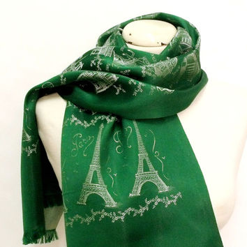 Vintage PARIS France green satin scarf souvenir Eiffel tower