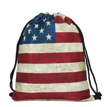 American USA Flag Drawstring Bags Cinch String Backpack Funny Funky Cute Novelty