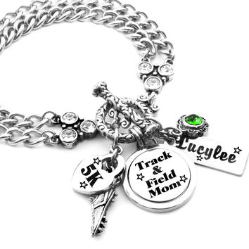 Track and Field Mom Charm Bracelet, Sports Jewelry