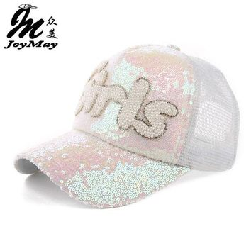 DCCKHY9 2016 Fashion Top quality Luxury Handmade Glitter Rhinestone Pearl Girls Baseball Mesh Cap Lady adjustable Summer hat  Cap B239