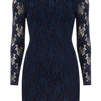 Navy long sleeve lace dress - Going Out Dresses - Dresses - Dorothy Perkins