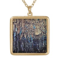 Blue Silver and Black Textured Abstract Locket