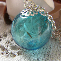 Real Dandelion Necklace Hand Blown Blue Glass Orb Bead Fairy Globe - MAKE A WISH - Nature Specimen
