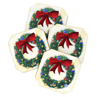 Madart Inc. Pine Wreath Coaster Set