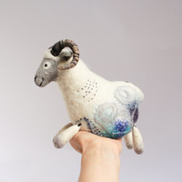 Damir - Felt Ram. Art Marionette Handmade Puppet Felted Stuffed Toy Waldorf Sheep. white grey blue rustic for dad for him. MADE TO ORDER.