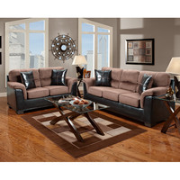 Exceptional Designs Living Room Set in Laredo Chocolate Microfiber