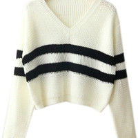 White and Black Long Sleeve Sweater