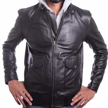 Men's Soft Lambskin Hooded Leather Bomber Jacket - Contemporary Style