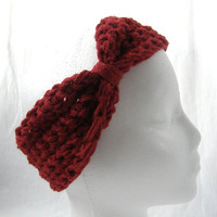 New Ready To Ship Cranberry Dark Red Crochet Headband Ear Warmer Women's Accessories