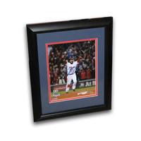Dustin Pedroia autographed 2013 World Series 8x10 framed last out celebration photo.