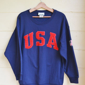 Vintage Pull Over Shirt USA Sweatshirt Long Sleeve Shirt