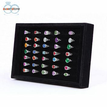 SUSENSTONE Jewelry Rings Display Tray Velvet About 50 Slot Case Box Jewelry Storage Box