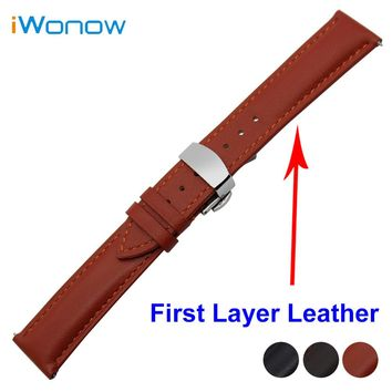Cowhide Genuine Leather Watch Band 18mm 20mm 22mm for Fossil Stainless Butterfly Buckle Strap Quick Release Wrist Belt Bracelet