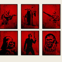 Set 6 Prints Star Wars Luke Skywalker, Clone Trooper, Boba Fett, Chewbacca, Darth Vader, Yoda Silhouette black and red Art, Star Wars *8*