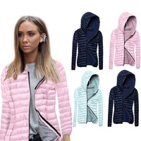 Fashion Winter Women Coat Long Sleeves Solid Color Zipped Outwear Keep Warm Ladies Girls Casual Jacket H9