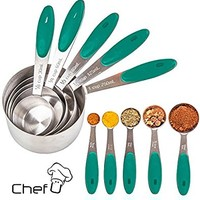 Measuring Cups and Measuring Spoons set by Chef U | Stainless Steel Measuring Cups and Spoons Set of 10 | Liquid Measuring Cup or Dry Measuring Cup Set | Stainless Measuring Cups | Nesting (Teal)