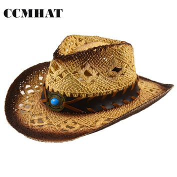 Adult or Childrens Straw Cowboy Western Hat with Turquoise Gem Band