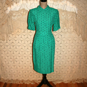 70s Dress 80s Dress Small Vintage 2 Piece Dress Rayon Dress 40s Style High Waist Skirt Back Button Blouse Green Black Print Womens Clothing
