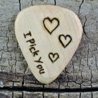 "ONE ENGRAVED Wooden Guitar Pick - ""I Pick You"" 3 Hearts Design or Other Designs Available - Wood Guitar Pick"