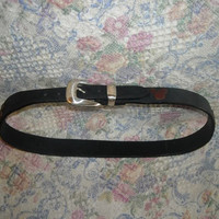 Womens Vintage Brighton Mickey Mouse Black Leather Belt 32 Mickey and Co Brown Accents