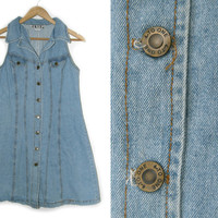 Vintage Denim Dress~Size Large~70s 80s 90s Button Down Blue Jean Collared Short Dress~By 4 to 1