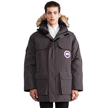 Canada Goose Expedition Parka With Coyote Fur Collar In Charcoal - Boaety