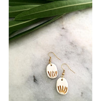 Handmade  Gold Painted White Polymer Clay Earrings