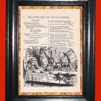 Alice in Wonderland Alice and Mad Hatter Tea Party - Vintage Dictionary Book Page Art Upcycled Page Art Dictionary Art Print