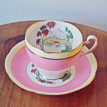 Grafton BAJ & Sons Teacup And Saucer, Hand Painted, Enamel